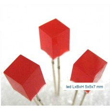 led rood lxbxh 5x5x7mm + weerstand
